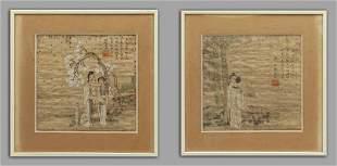 Paesaggi con personaggi coppia di olii su carta