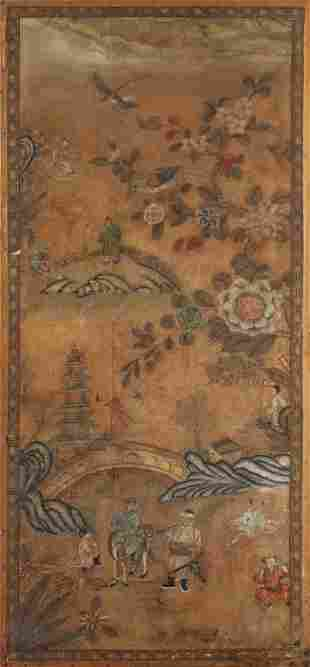 Pannello dipinto su carta di riso Cina fine