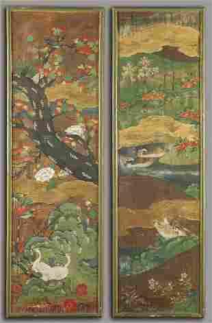 Coppia di pannelli dipinti Giappone