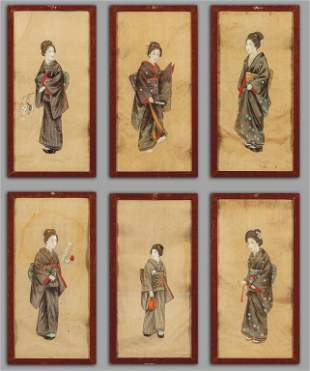 Geishe sei tempere su seta Giappone I met