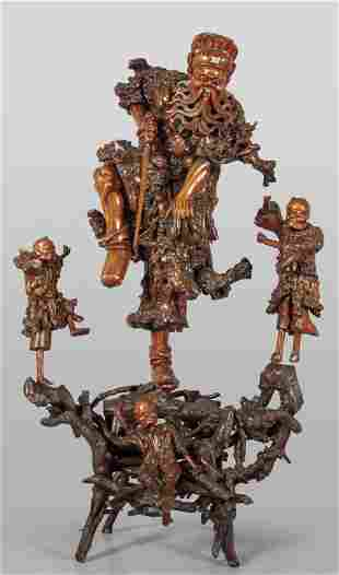 Guerriero dellAldil grande scultura in radice