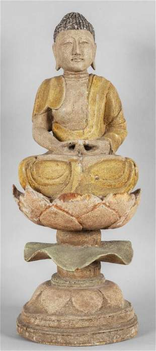 Budda seduto su un fiore di loto scultura in