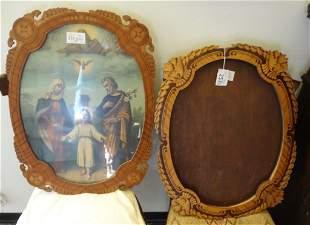 Due cornici in legno finemente intarsiate di