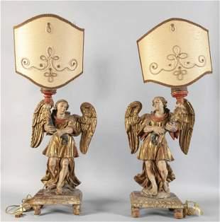 Coppia di angeli portacero Luigi XIV in legno