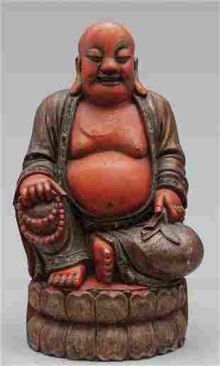 Budda antica scultura in legno dorato e