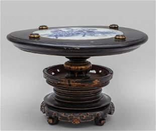 Tavolino cinese in legno con pianetto in