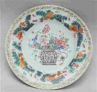 Piatto in porcellana XianXi a decoro con un vaso