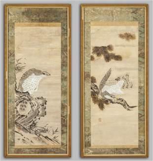 Rapaci coppia di dipinti su carta Giappone