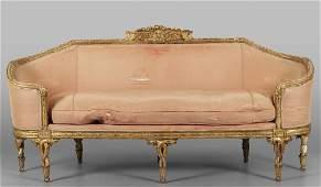 Grande divano Luigi XVI a corbeille in legno