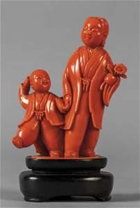 Figure orientali, scultura in corallo, Cina