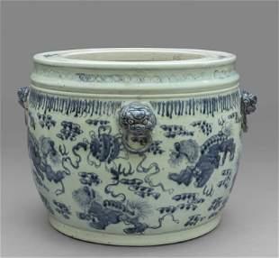 Grande cachepot in porcellana bianca e blu