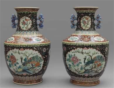 Coppia di vasi in porcellana di Cina decorati in