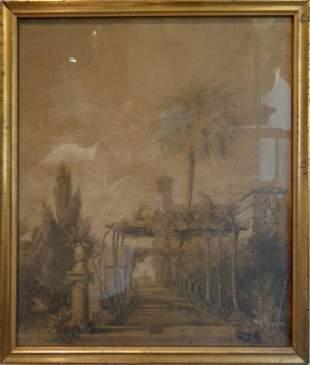 Villa antico disegno fto secXIX cm 34x40