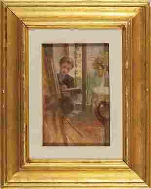 La giovane pittrice olio su tela applicata su