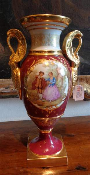 Grande vaso in porcellana di Limoges decorato con