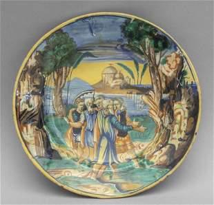 Piatto istoriato in ceramica policroma Umbria