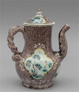 Caffettierina in ceramica decoro manganese con