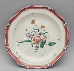 Piatto in ceramica policroma decoro alla rosa