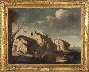 Scuola veneta secXVII Paesaggio con casolari