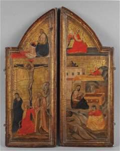 """Scuola toscana sec.XV """"Crocefissione"""" e """"Natività"""