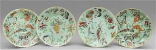 Quattro piattini in porcellana Celadon decorati