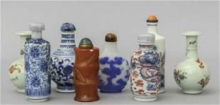Otto snuff bottles cinesi in materiali diversi