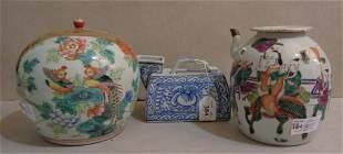 Vaso con coperchio in porcellana di Cina e due