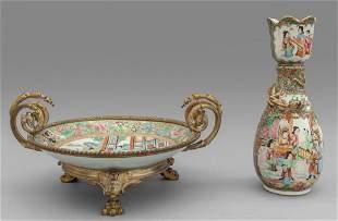 Alzata in porcellana Canton decorata in bronzo