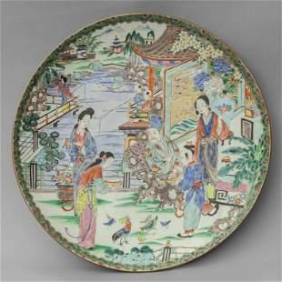 Grande piatto in porcellana decorato in