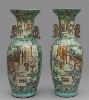 Coppia di vasi in porcellna Famiglia Rosa, Cina