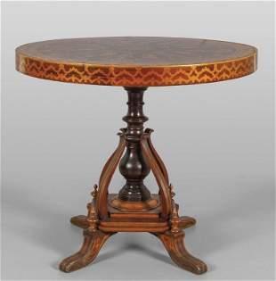 Tavolino lastronato in mogano ed intarsiato in