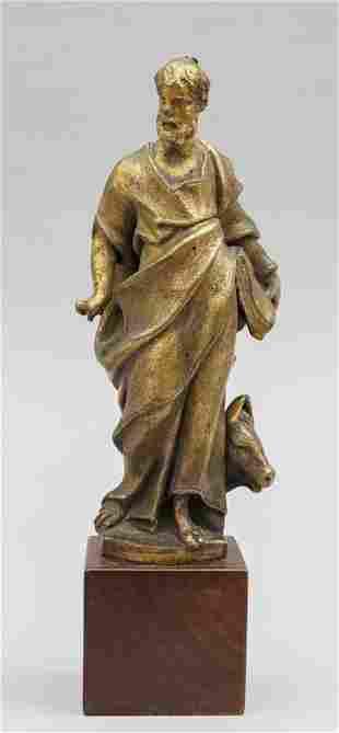 San Luca scultura in bronzo dorato