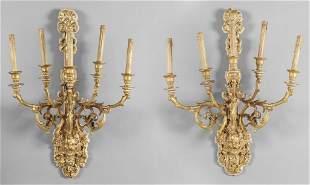Coppia di grandi bracci a cinque luci in legno