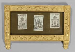 Cornice Luigi XVI in legno intagliato e dorato
