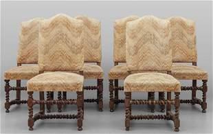 Sei sedie in noce a rocchetto in stile antico
