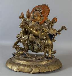 Mahakala in bronzo dorato, Tibet