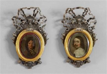 Gentiluomini, coppia di miniature su rame,