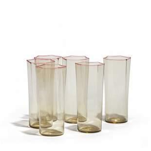 VENINI Sei bicchieri a sezione esagonale in