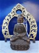 Lotto composto da uno schienale in bronzo dorato