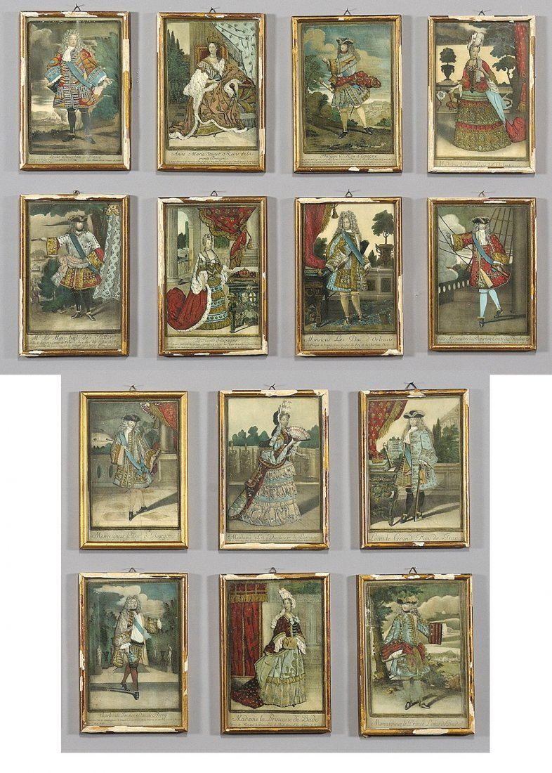 Quattordici stampe raffiguranti personaggi