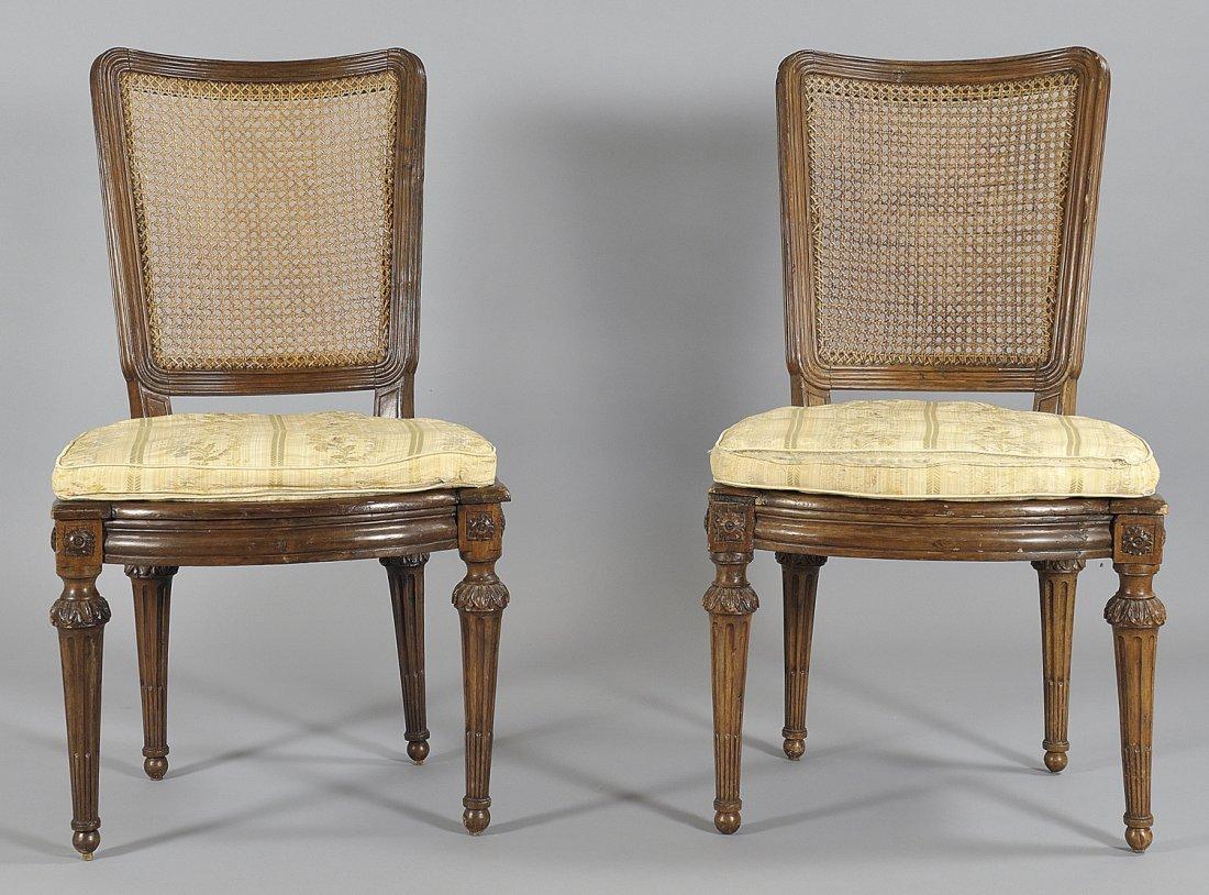 Sei sedie Luigi XVI in noce, Genova sec.XVIII