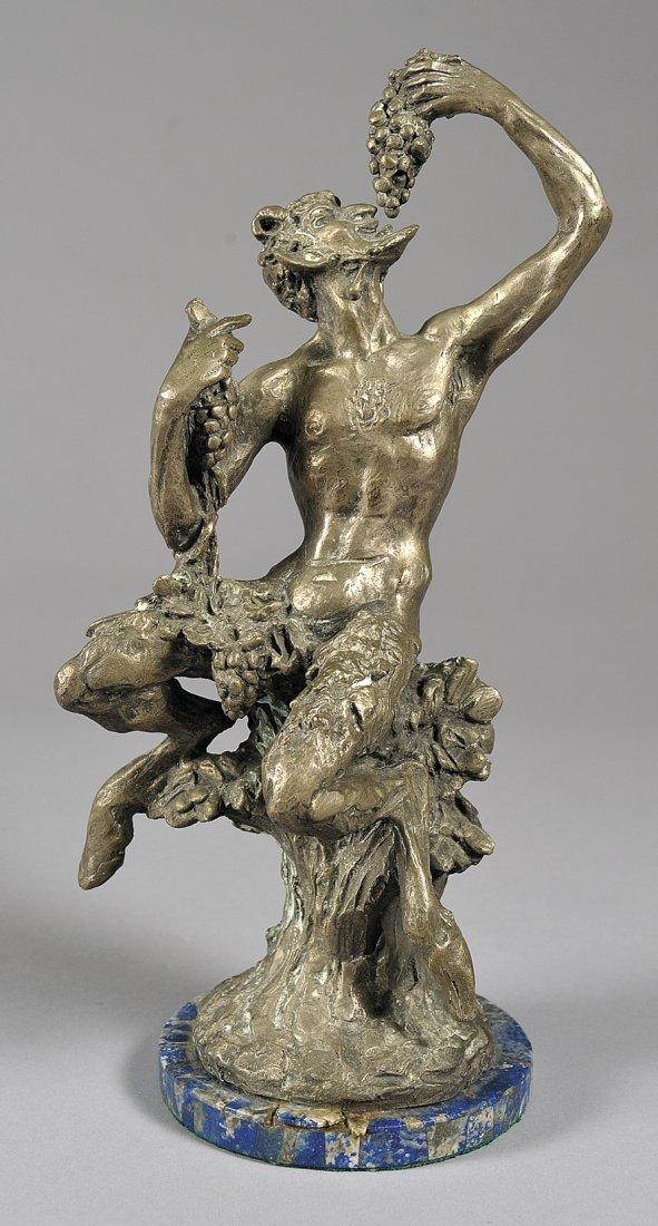 Fauno in argento con base in lapislazzulo, f.to