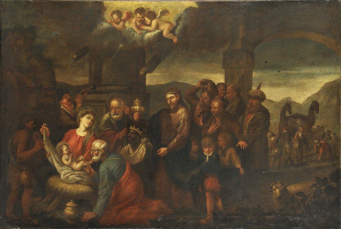 """Scuola del Bassano inizi sec.XVIII """"L'Adorazione"""