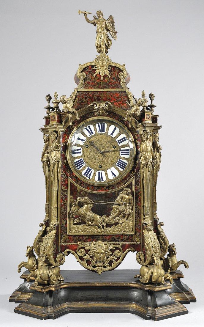 Grande orologio a cartel intarsiato alla maniera