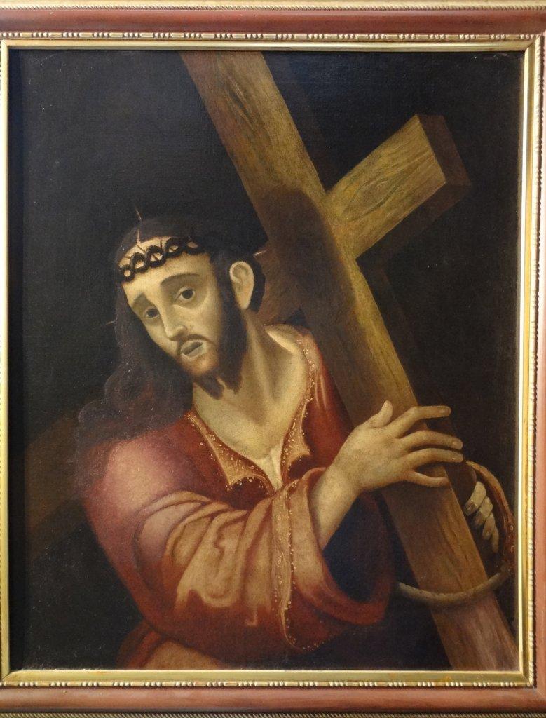 """Scuola spagnola fine sec.XVII """"Cristo che porta"""