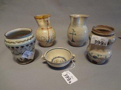 Cinque oggetti in terraglia sec.XIX
