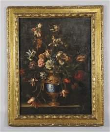 """Vasi di fiori"" coppia di olii sec.XVII, cornice"