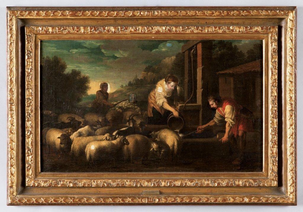 """Scuola romana sec.XVIII """"Paesaggio con figure e"""