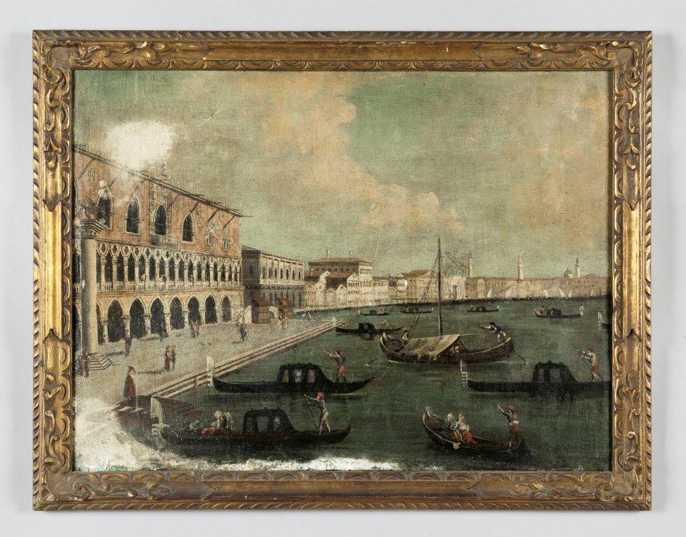 """Scuola veneta sec.XIX """"Veduta di Venezia"""" olio in"""