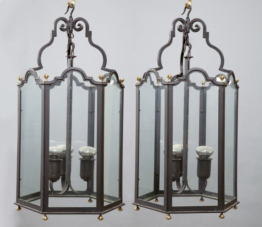 Coppia di lampioni in ferro h.cm.85